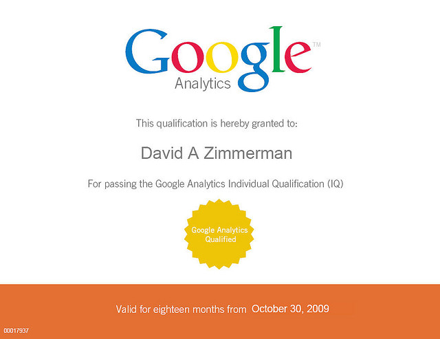 David Zimmerman's Google Analytics Individual Qualification