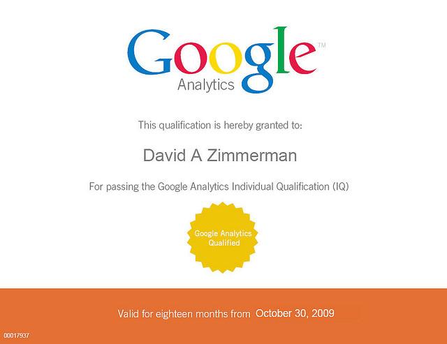 David Zimmerman's Google Analytics Individual Qualification