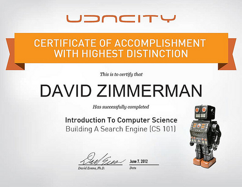 Udacity Certificate of Accomplishment with Highest Distinction for David Zimmerman