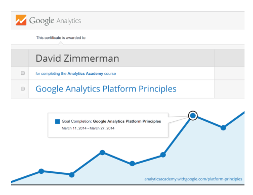 Google Analytics Platform Principles Certificate for David Zimmerman